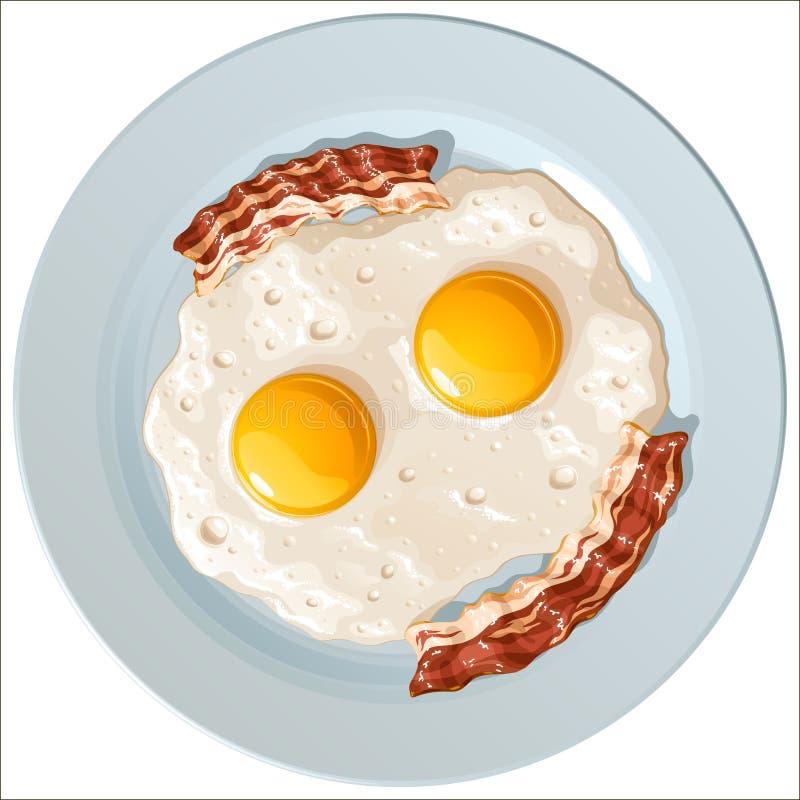 Huevos revueltos con el tocino en una placa azul de la porcelana, visión superior stock de ilustración