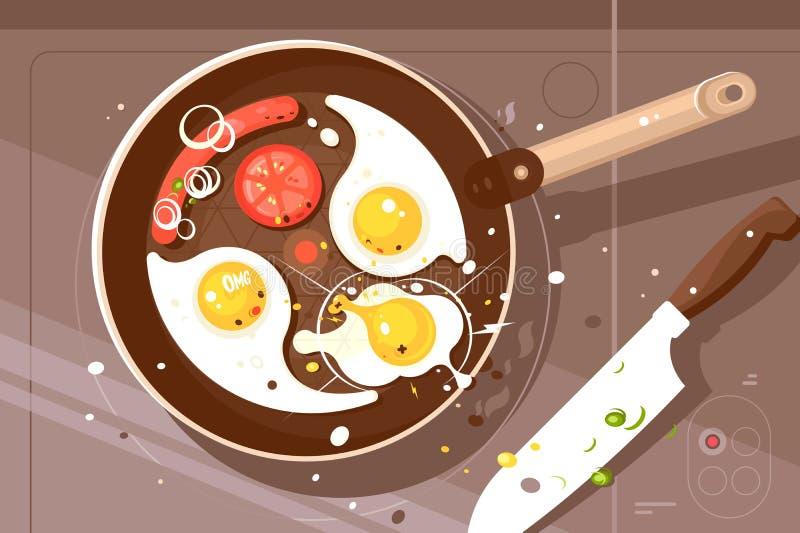 Huevos revueltos y salchicha deliciosos de la fritada stock de ilustración
