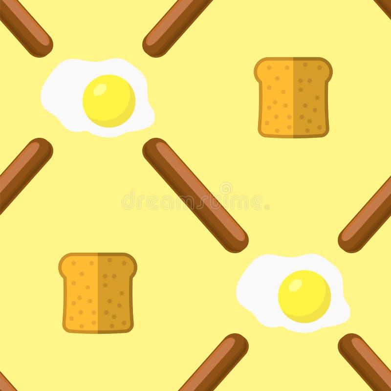 Huevos, salchichas de la parrilla y modelo inconsútil del pan Textura de los alimentos de preparación rápida stock de ilustración