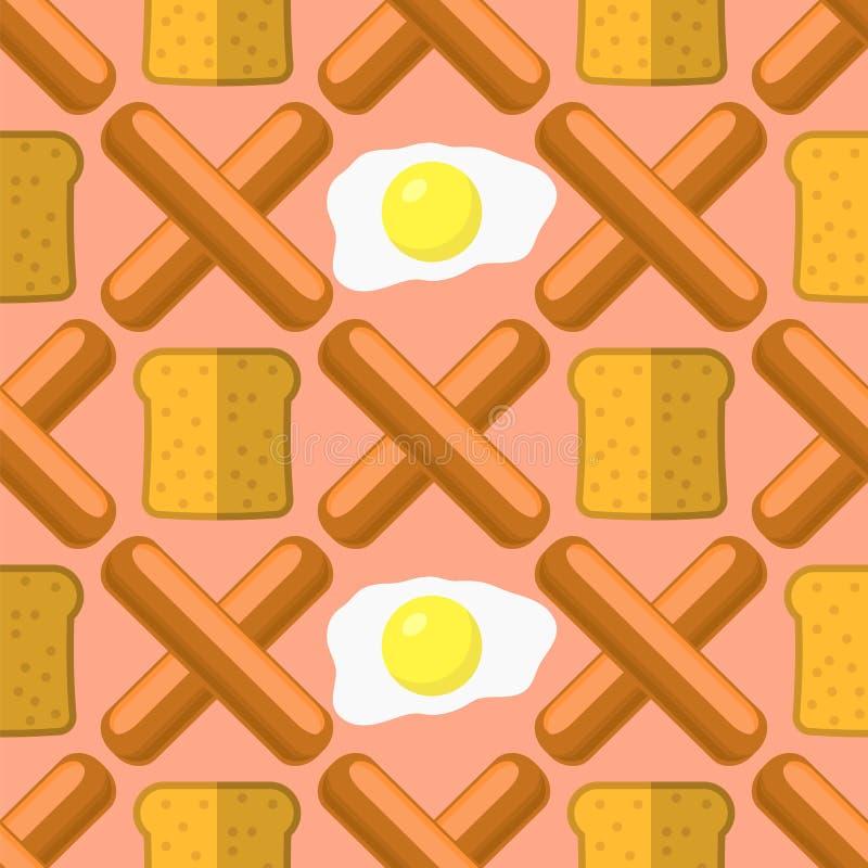 Huevos, salchichas de la parrilla y modelo inconsútil del pan Textura de los alimentos de preparación rápida libre illustration