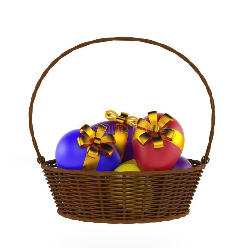 Huevos y cesta de Pascua aislados 3d rinden stock de ilustración
