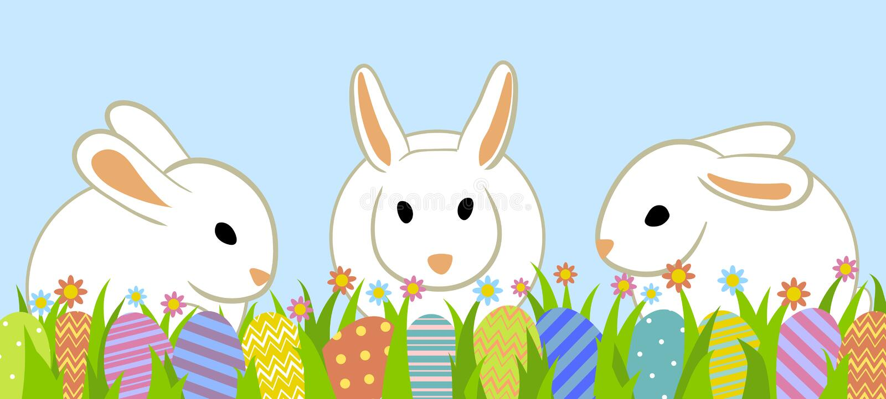 Huevos y conejito de Pascua stock de ilustración