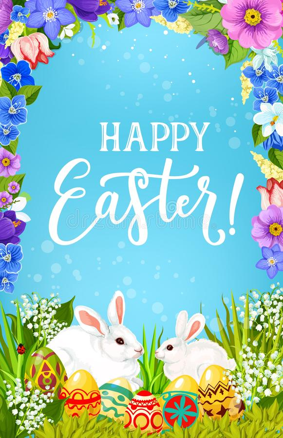 Huevos y conejitos de Pascua en marco de la flor de la primavera stock de ilustración