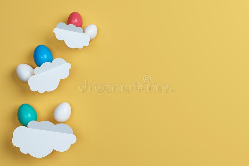 Huevos y nube coloridos de Pascua en fondo amarillo Espacio para el te ilustración del vector