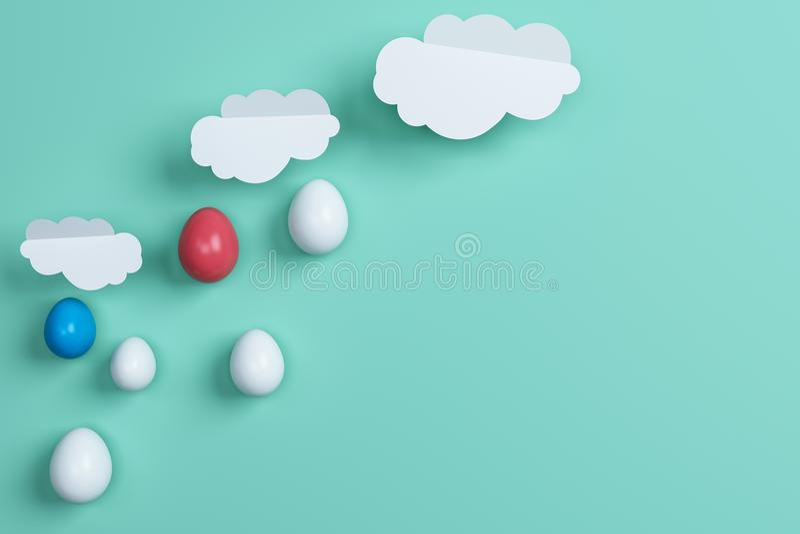 Huevos y nube coloridos de Pascua en fondo verde Espacio para el tex ilustración del vector