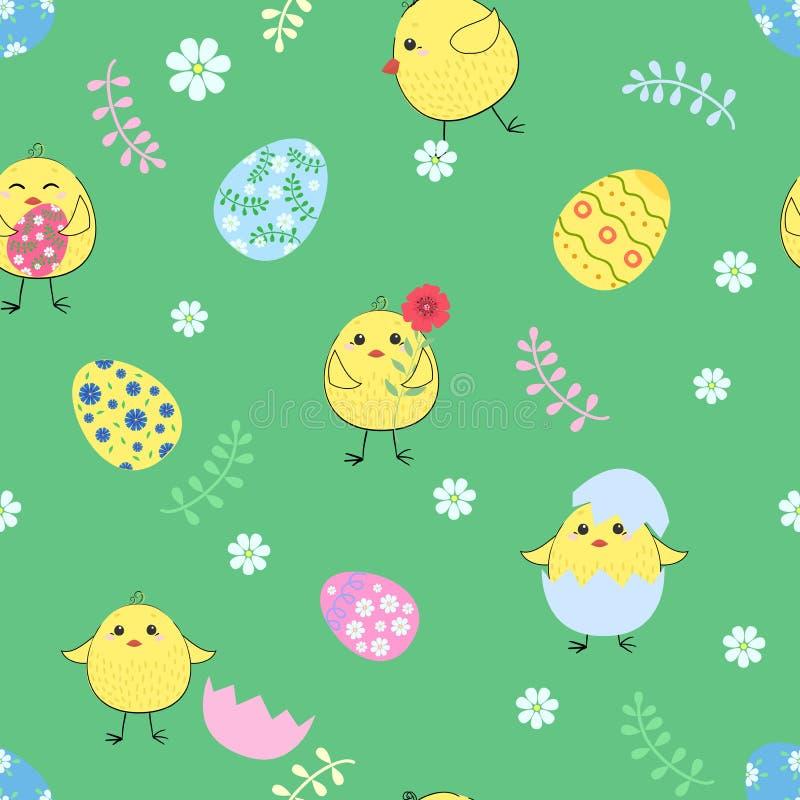 Huevos y pollos inconsútiles de Pascua en el fondo ilustración del vector
