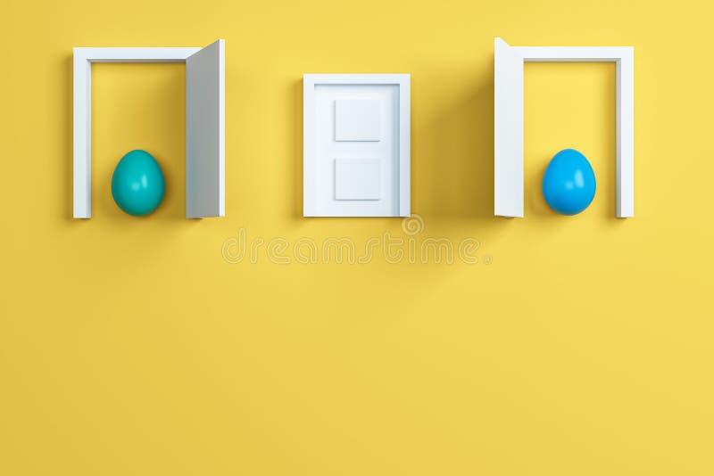 Huevos y puerta coloridos de Pascua en fondo amarillo Espacio para el tex ilustración del vector
