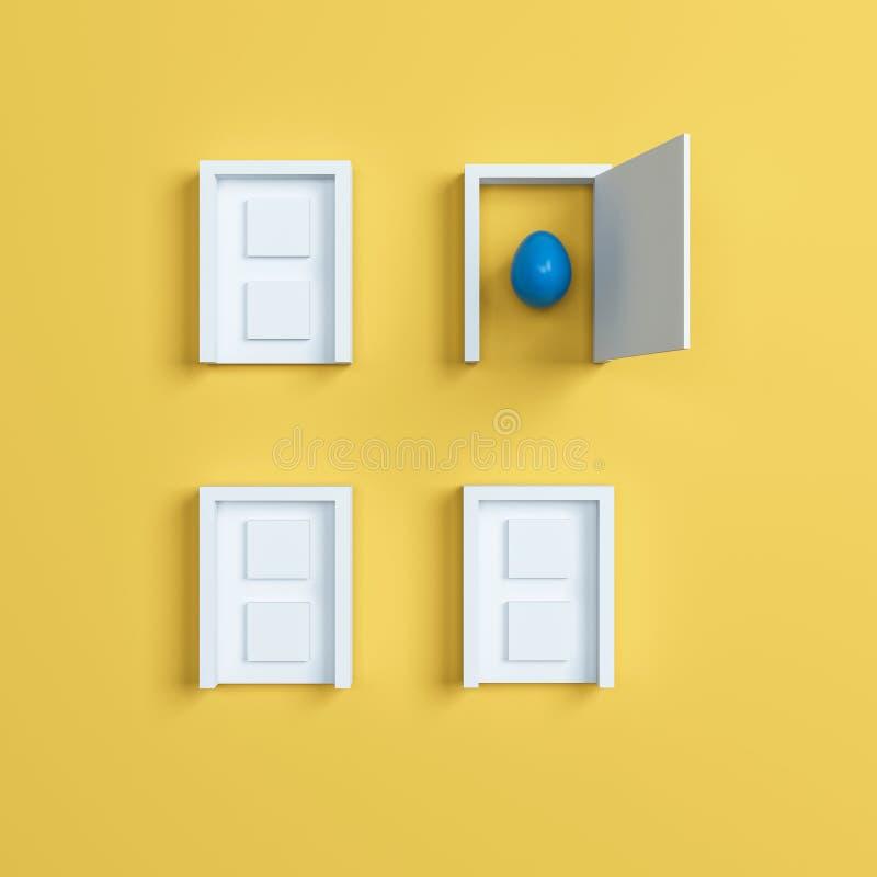 Huevos y puerta coloridos de Pascua en fondo amarillo representación 3d ilustración del vector