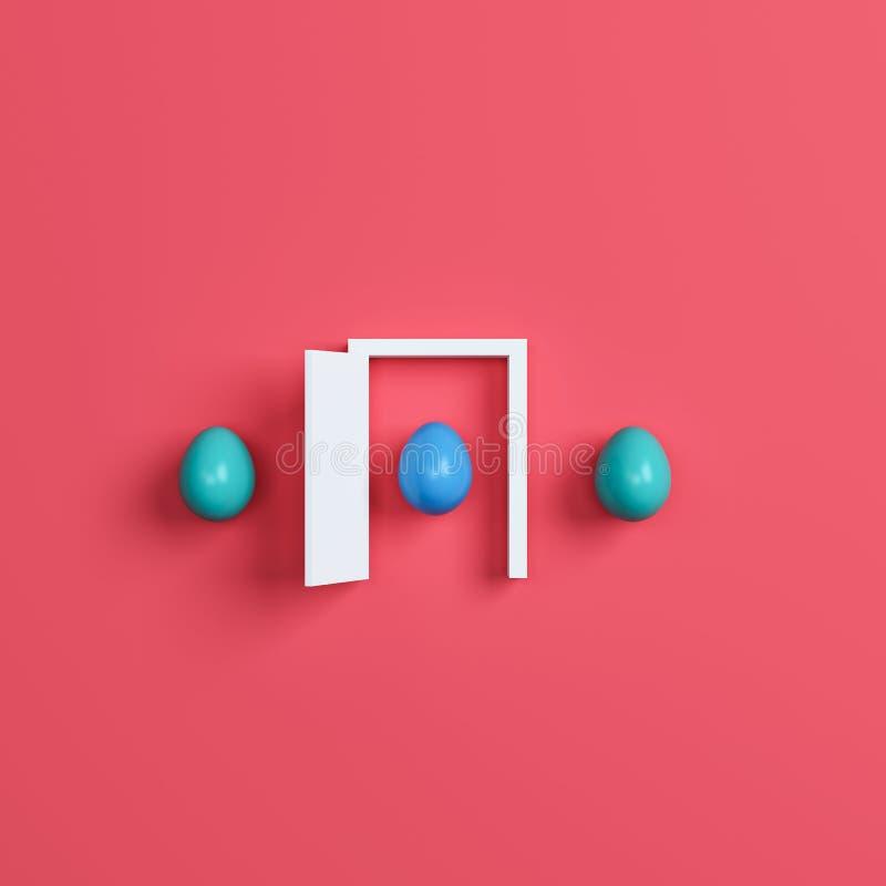 Huevos y puerta coloridos de Pascua en fondo rojo representación 3d libre illustration