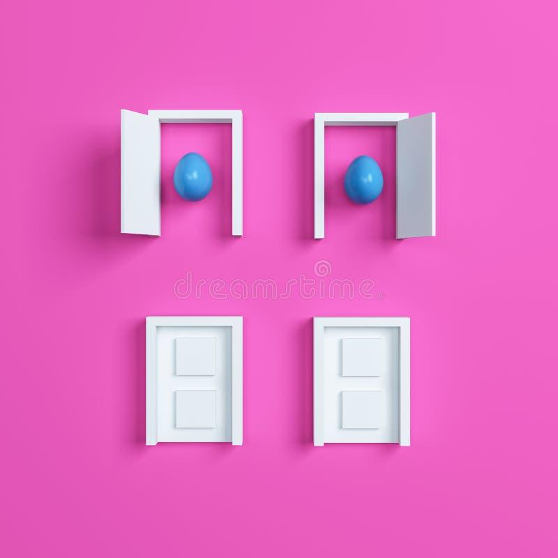 Huevos y puerta coloridos de Pascua en fondo rosado representación 3d libre illustration