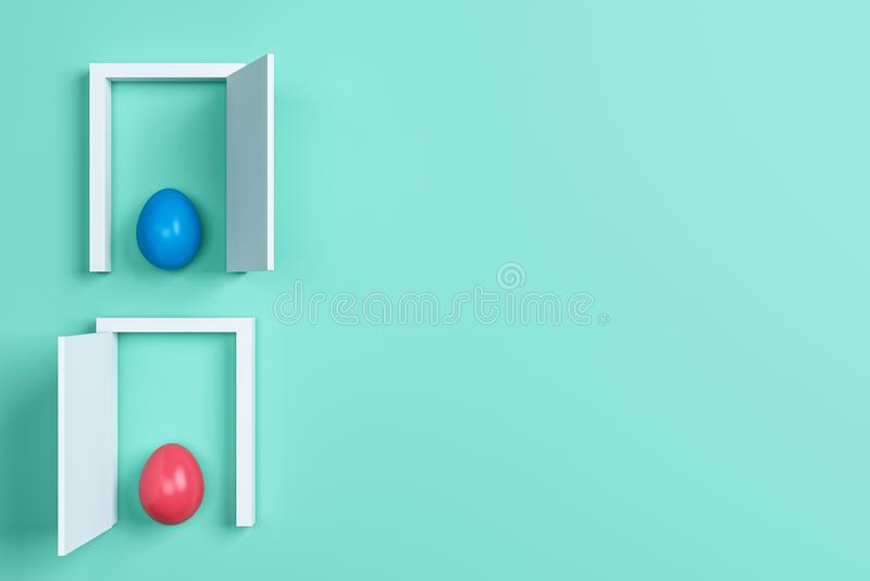Huevos y puerta coloridos de Pascua en fondo verde Espacio para el texto libre illustration