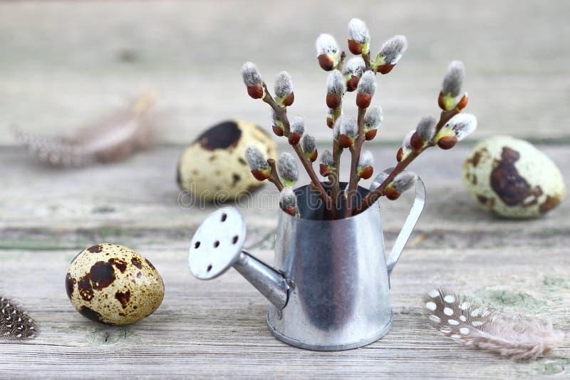 Huevos y sauce de codornices en una tabla de madera imágenes de archivo libres de regalías