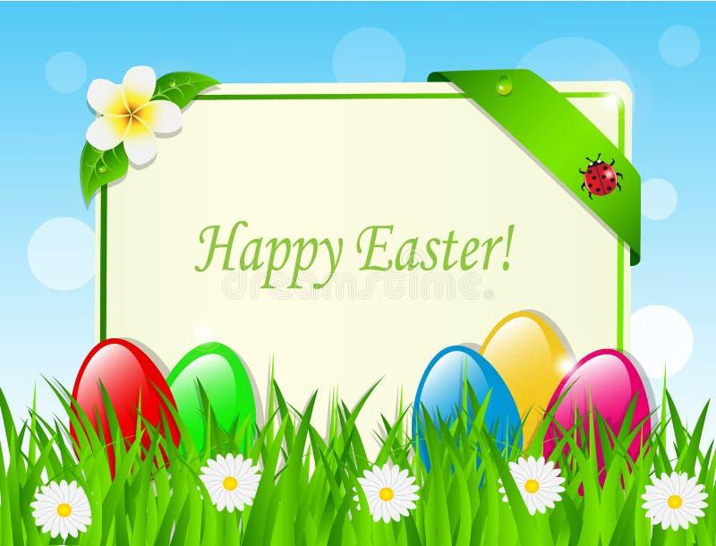 Huevos y tarjeta de Pascua en la hierba stock de ilustración