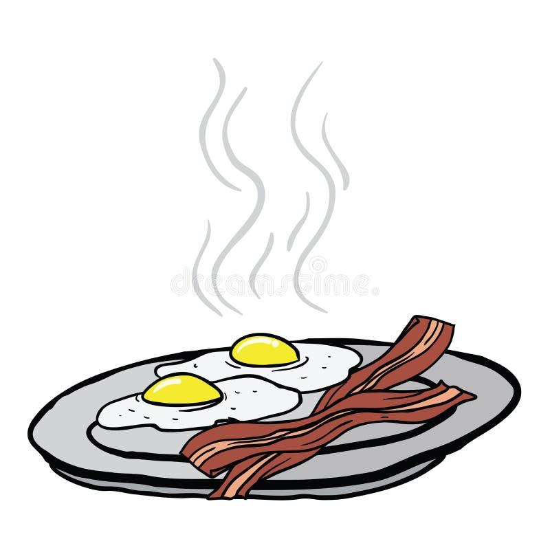 Huevos y tocino stock de ilustración