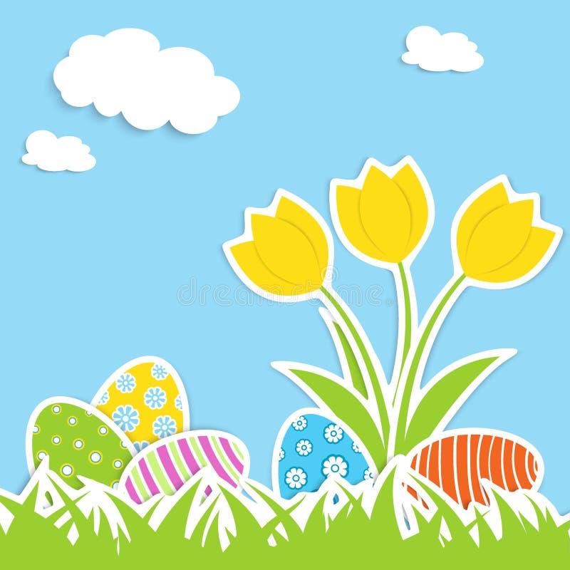 Huevos y tulipanes ilustración del vector