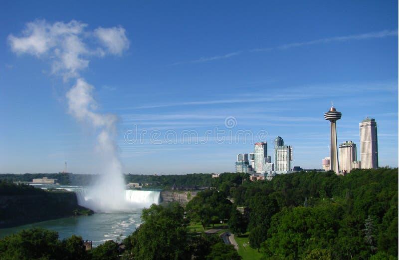 Hufeisen-Fälle und Niagara- FallsSkyline lizenzfreie stockfotografie