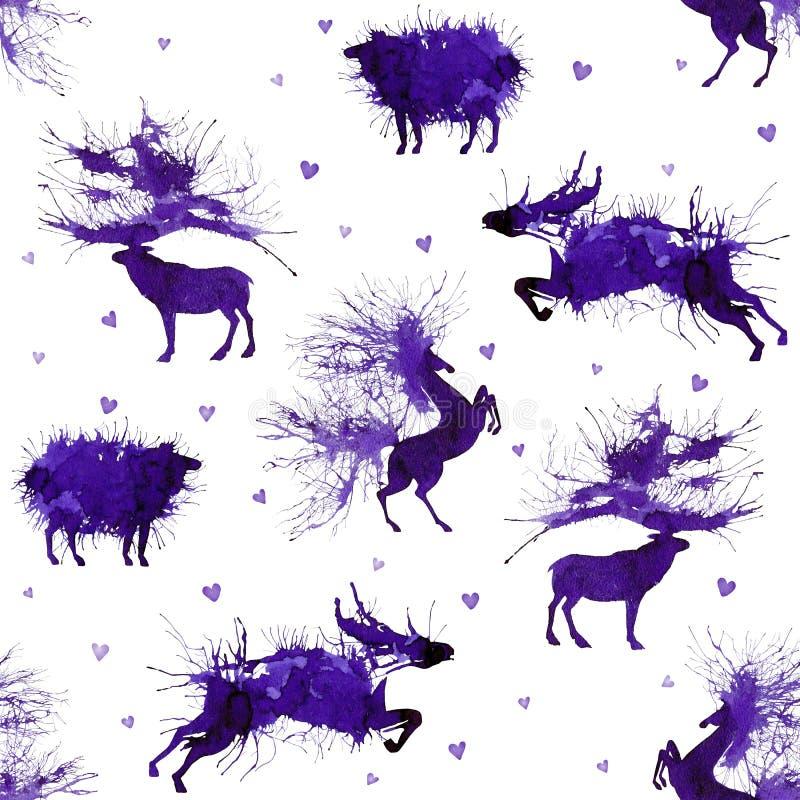 Huftiere Rotwild, wilder Stier, Schafe und Pferd auf dem Hintergrund mit Herzen Dritte Version Natürliche cliparts lizenzfreie abbildung