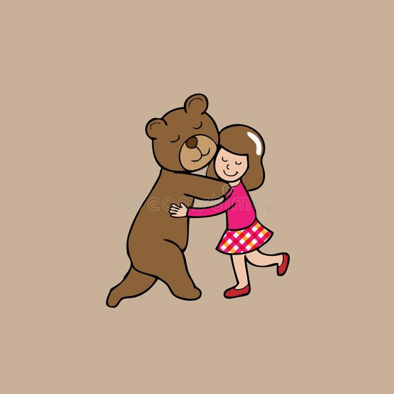 Hug bear and girl vector illustration