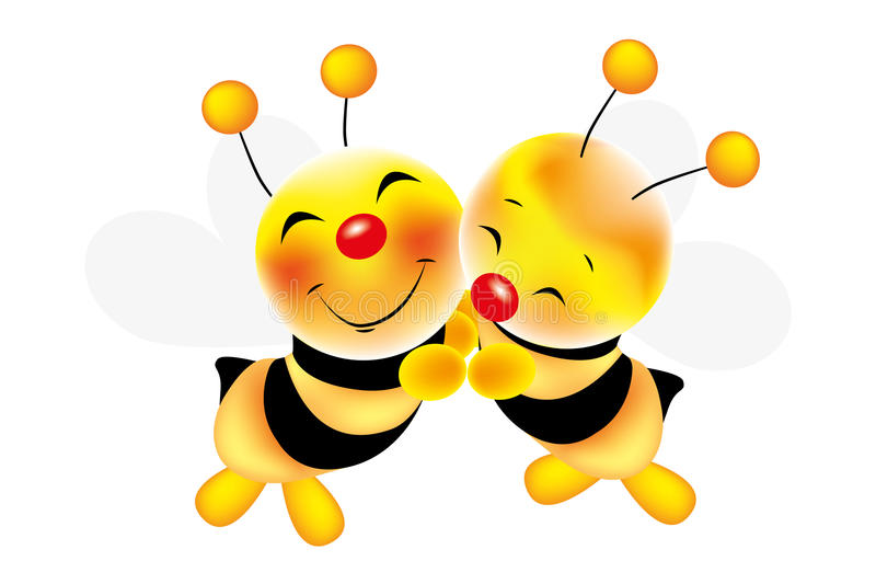 Hug of bees - Stock Illustration. Vector illustration of hug of cute bees stock illustration