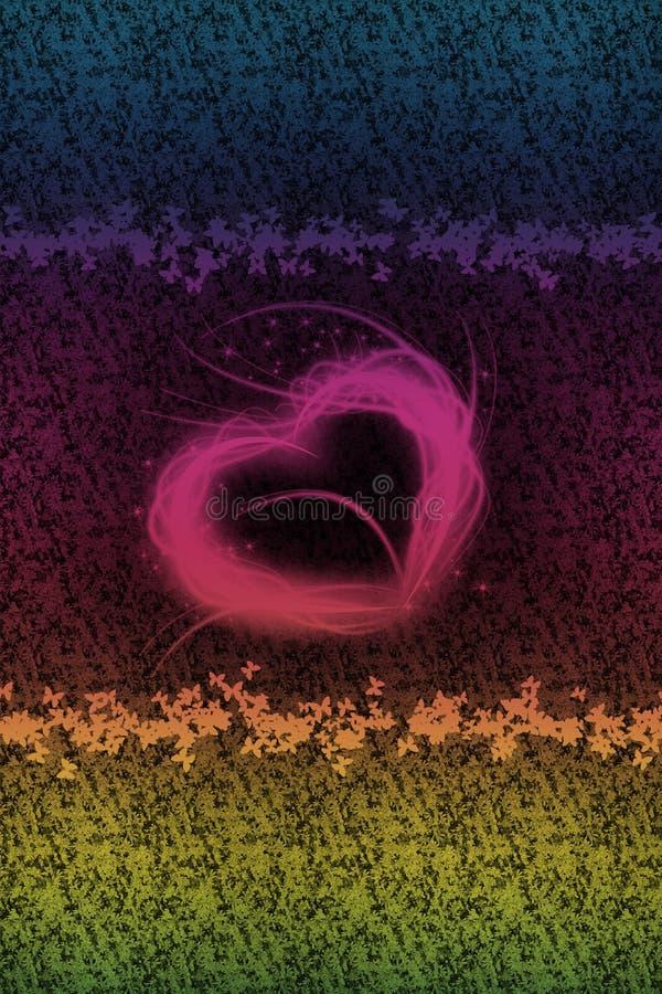 Hug com borboletas e flor-fundo pequenos ilustração do vetor