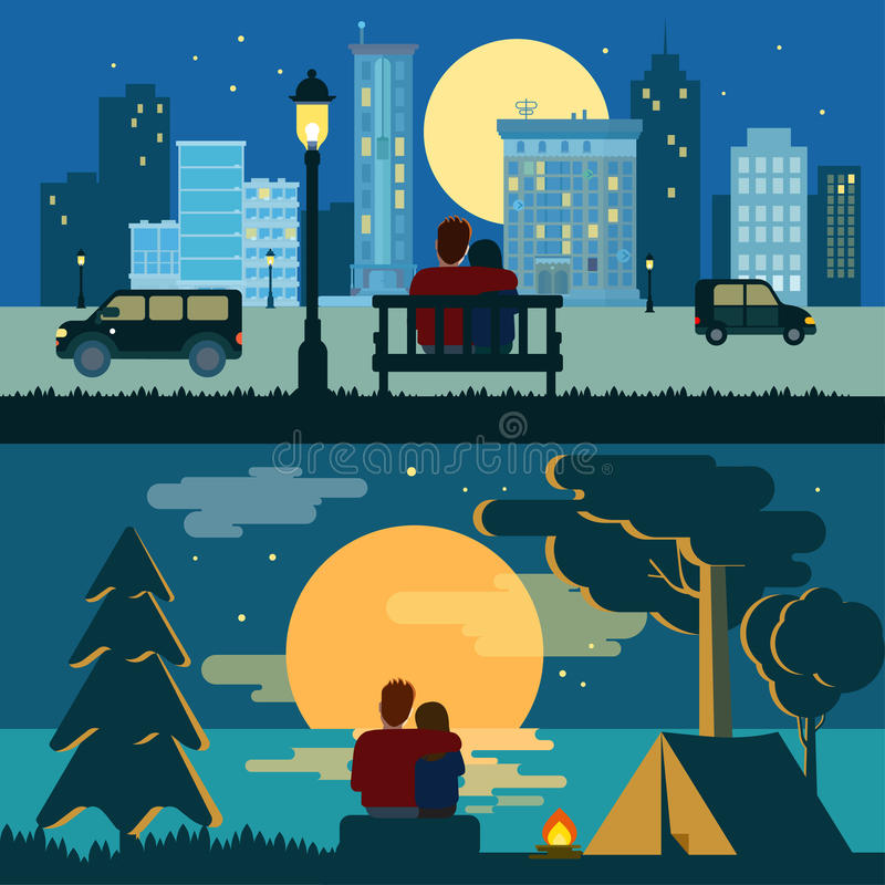 Hug cuddle couple romance love dating flat night city outdoor. Hug cuddle couple romance love dating flat night city and outdoor landscape romance concept vector stock illustration