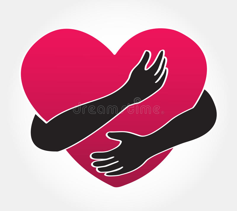 Hug The Heart Love Yourself Symbol Stock Vector Illustration Of
