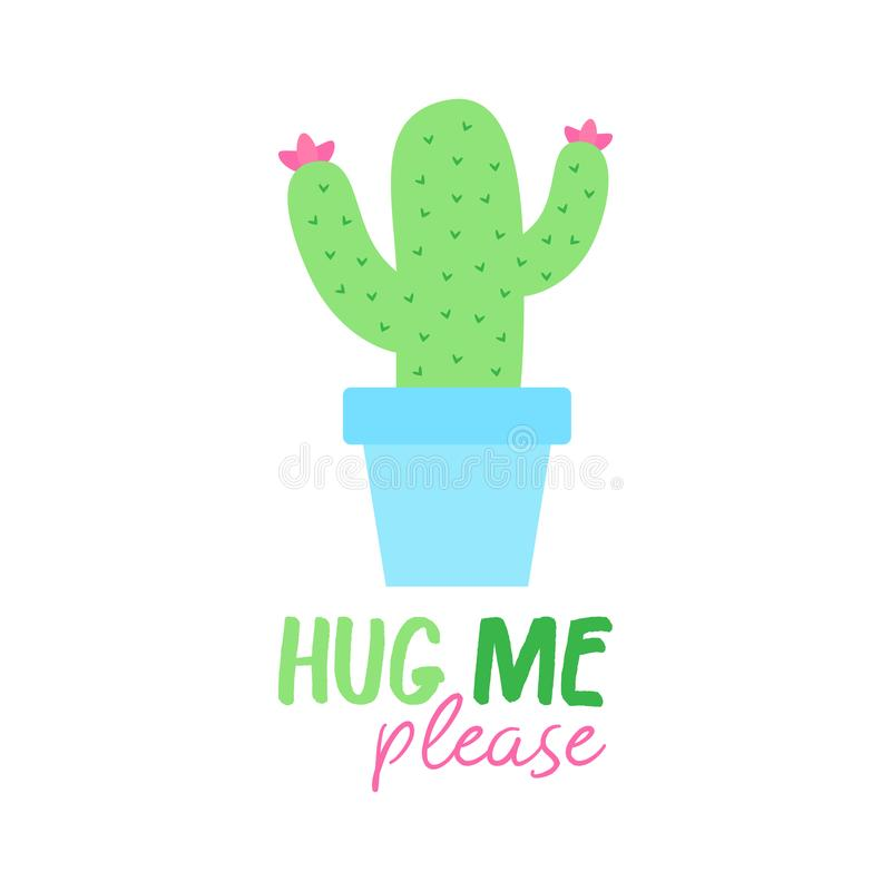 Hug me please cactus vector royalty free illustration