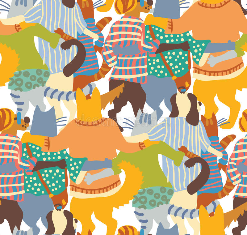 Hug pets dogs and cats back seamless pattern friends. royalty free illustration