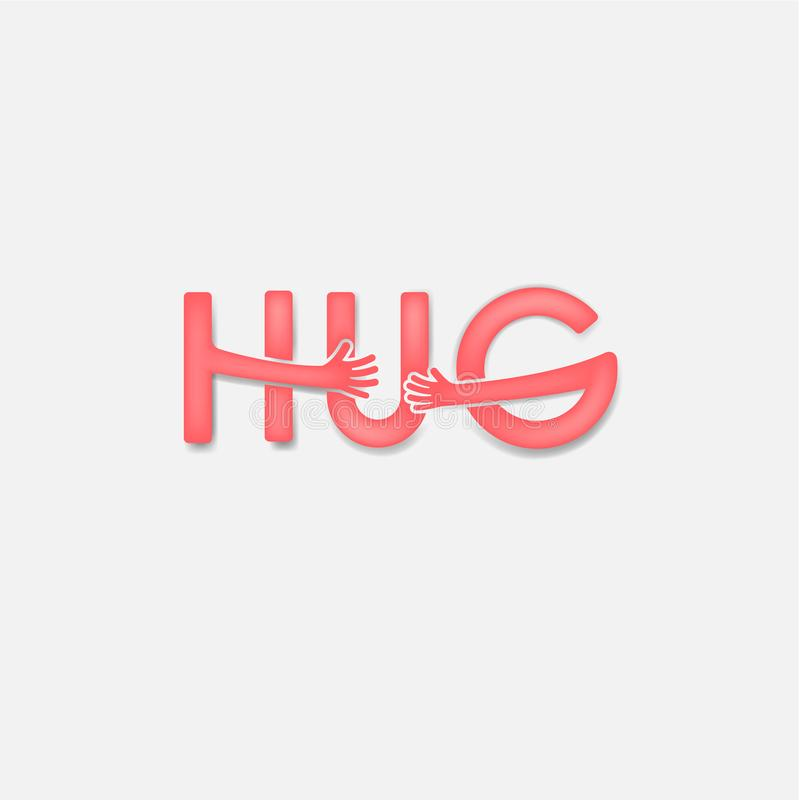 HUG typographical and Hand icon.Embrace or hug icons vector logo design.Hugs and Love yourself symbol.Love concept.Valentine`s Day royalty free illustration