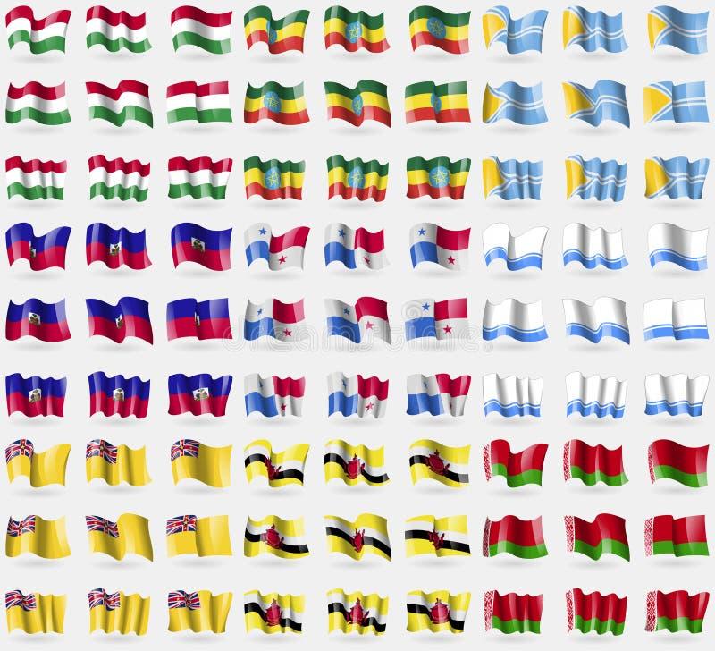Hugary, Etiopia, Tuva, Haiti, Panama, Altai republika, Niue, Brunei, Białoruś Duży set 81 flaga ilustracji