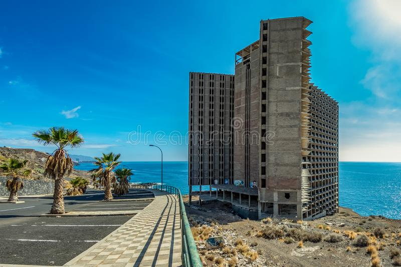 Huge Abandoned building in front of the ocean, Tenerife. Wide angle stock photography
