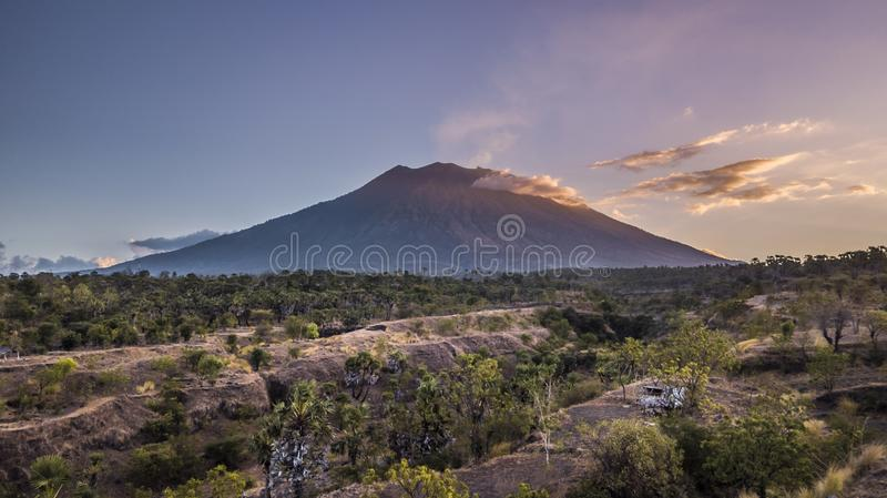 Agung volcano with amazing sunset stock images