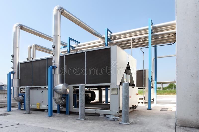 Huge air conditioning unit, central heating and cooling system c. Ontrol stock image