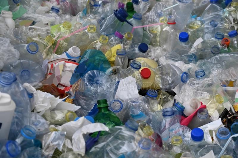 A huge amount of plastic waste stock images