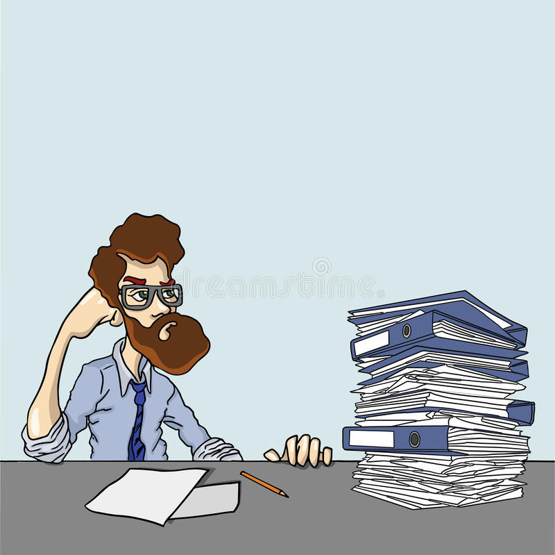 Huge amounts of information are need to explore. People with stack of papers on his head vector illustration