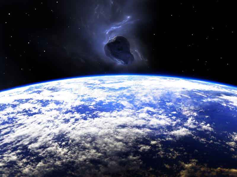 Huge asteroid flying around the Earth stock illustration