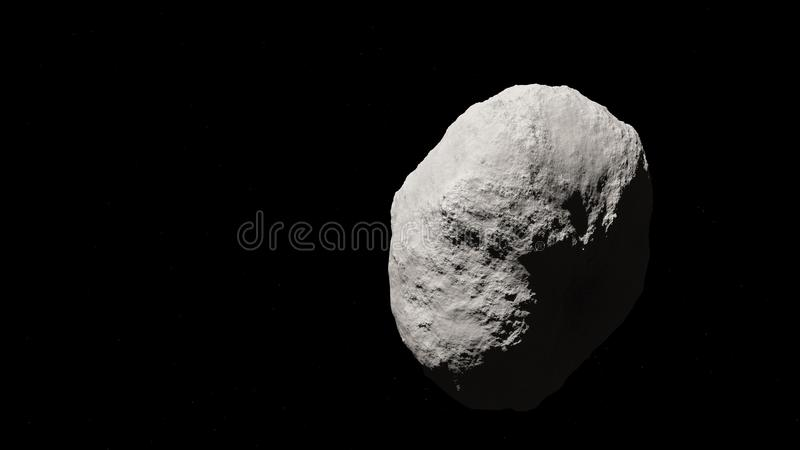 Huge asteroid in space with star background stock illustration