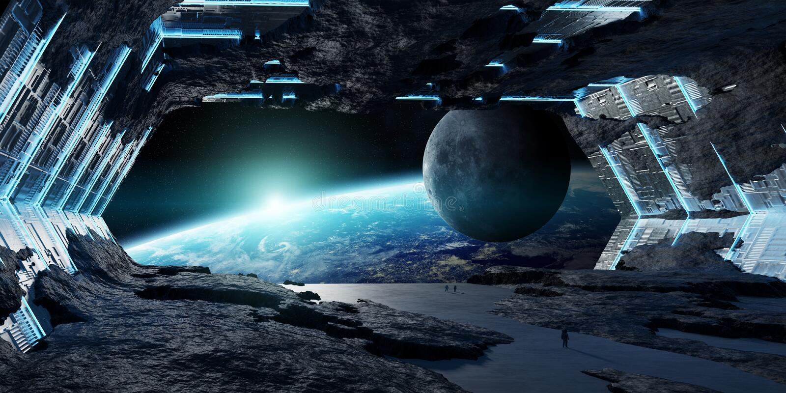 Huge asteroid spaceship interior 3D rendering elements of this i vector illustration