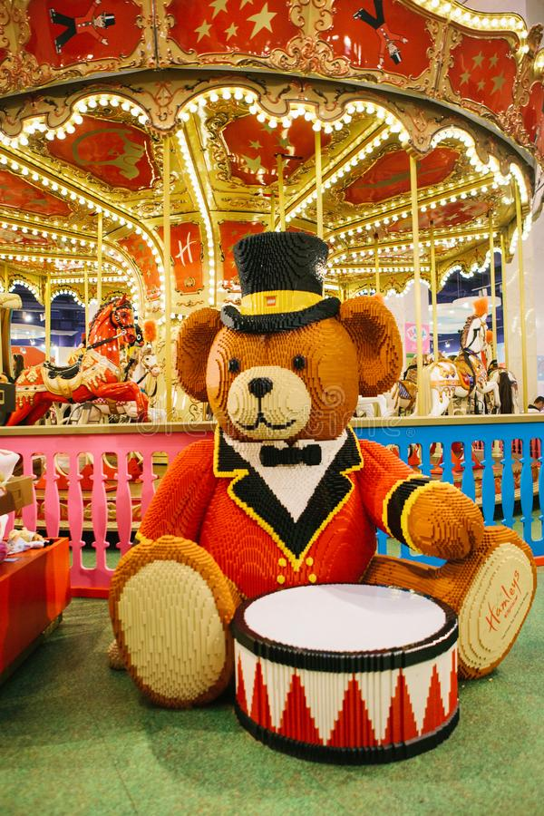A huge bear with a drum made from Lego royalty free stock photography