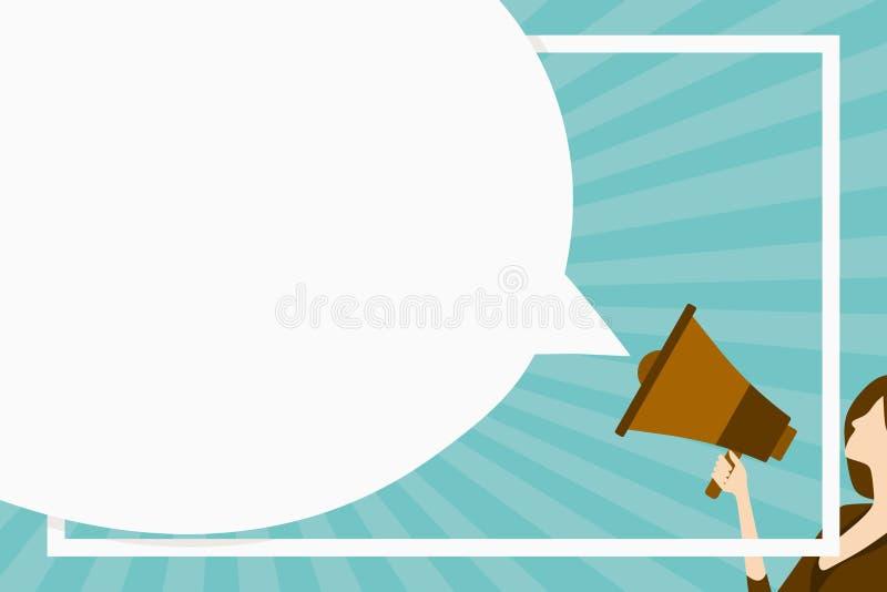 Huge Blank Speech Bubble Round Shape. Slim Woman Holding Colorful Megaphone. Creative Background Idea for Announcement stock illustration