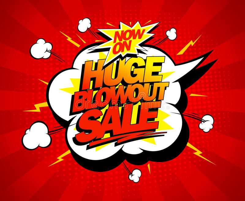 Huge blowout sale pop-art banner vector illustration