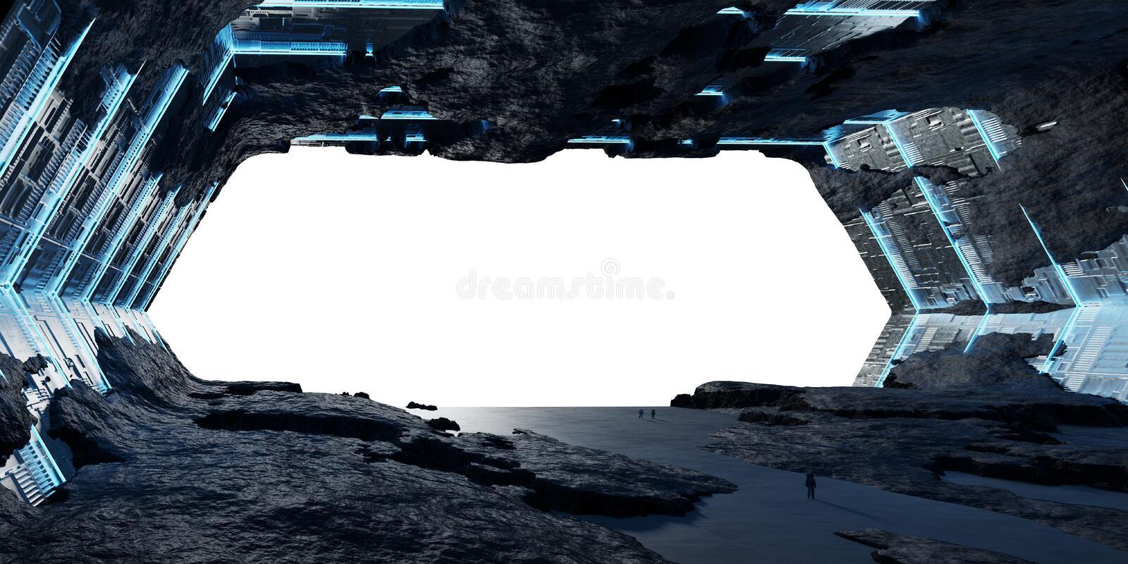 Huge asteroid spaceship interior 3D rendering elements of this i royalty free illustration