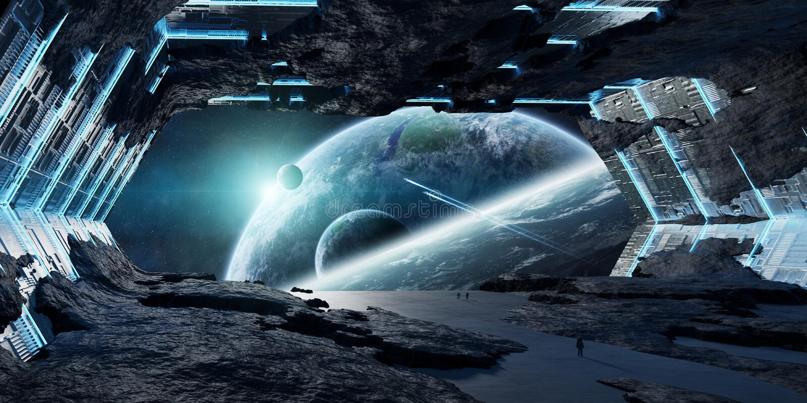Huge asteroid spaceship interior 3D rendering elements of this i stock illustration