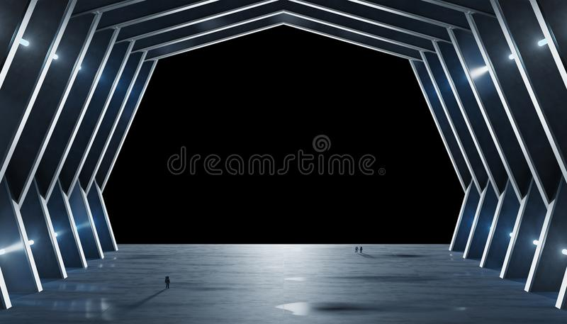 Huge blueish hall spaceship interior isolated 3D rendering vector illustration