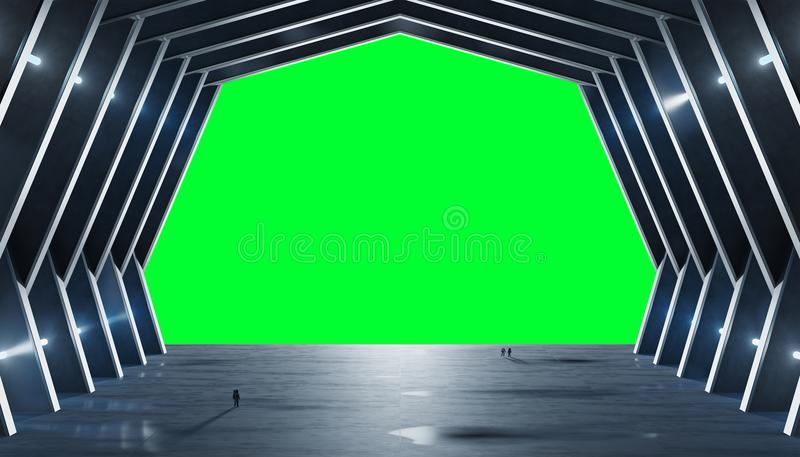 Huge blueish hall spaceship interior isolated 3D rendering royalty free illustration