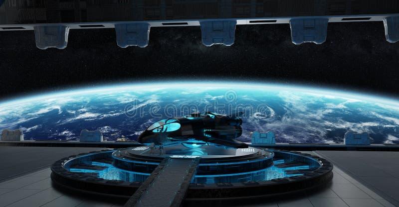 Landing strip spaceship interior 3D rendering elements of this i vector illustration