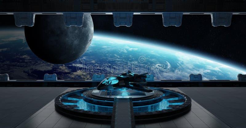 Landing strip spaceship interior 3D rendering elements of this i. Huge blueish landing strip spaceship interior 3D rendering elements of this image furnished by vector illustration
