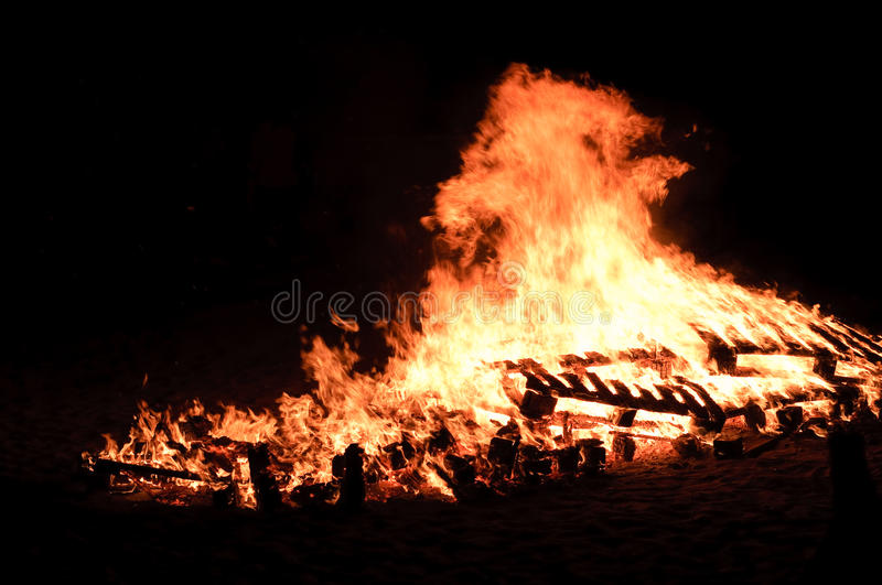 Huge Bonfire On The Beach Royalty Free Stock Photography
