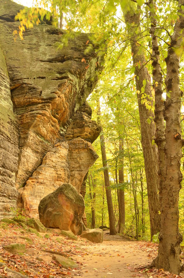 Huge boulder in the woods in Ledges Park royalty free stock photos