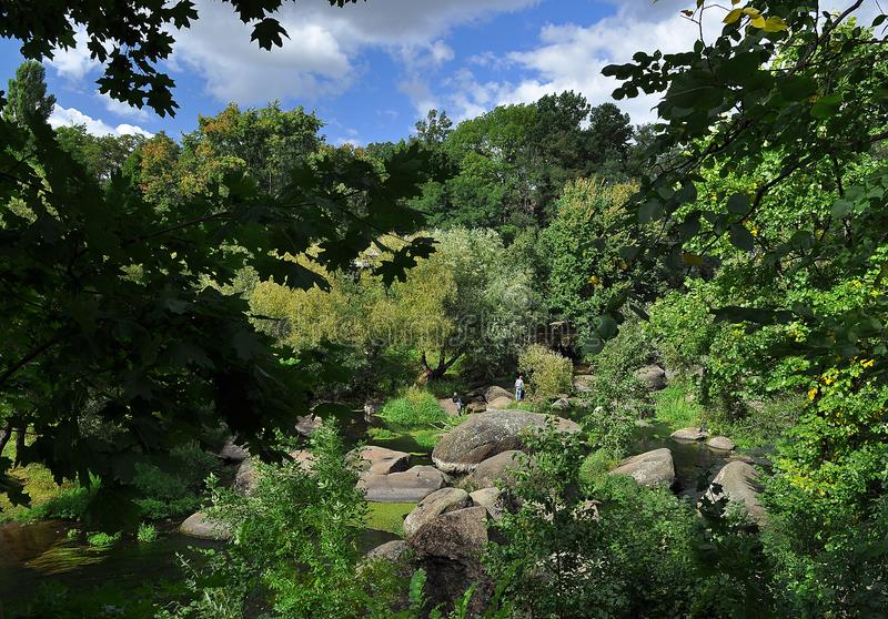 Huge boulders lie in the river among high green trees against the blue sky. Journey nature stone flowing landscape water destination tourism forest surrey uk stock images